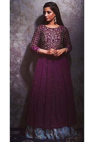 Wine Double Layered Lucknowy Gown by Dhara Shah Studio