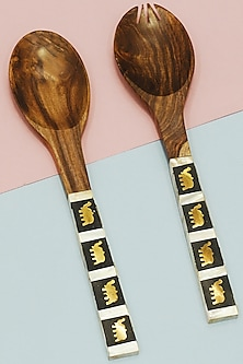 Salad Serving Spoons With Elephants (Set of 2) by THOA