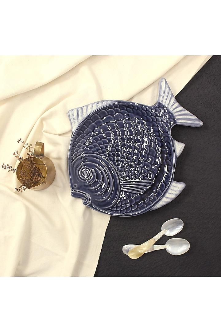 Blue Ceramic Fish Platter by THOA