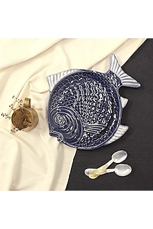 Blue Ceramic Fish Platter by THOA