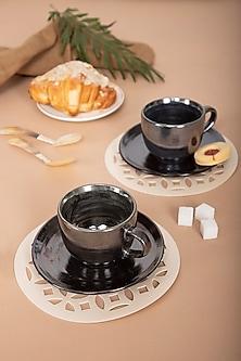Silver Cosmic Glaze Tea Set (Set Of 2) by The House of Artisans