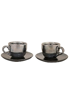 Silver Cosmic Glaze Tea Set (Set Of 2) by The House of Artisans