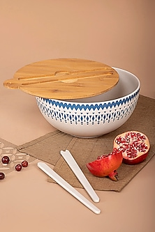 White & Blue Bamboo Salad Bowl by The House of Artisans