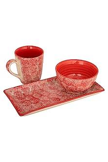 Red Breakfast In Bed (Set Of 3) by The House of Artisans