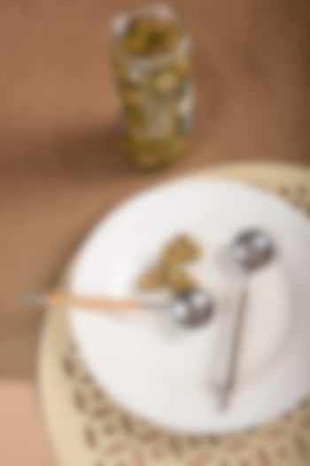 Silver & Natural Bamboo Olive Spoon by THOA
