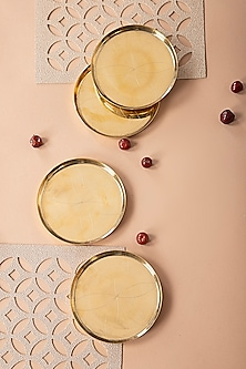 Gold Exquisite Coasters (Set Of 4) by The House of Artisans