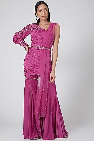 Purple Embroidered Sharara Set by Dheeru Taneja