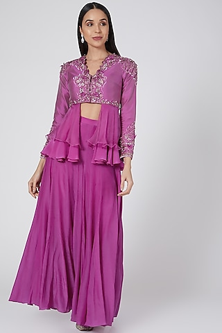 Purple Mirrors Embroidered Sharara Set by Dheeru Taneja