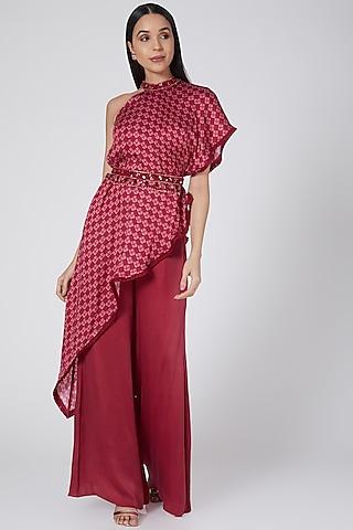 Red Printed Pants Set by Dheeru Taneja