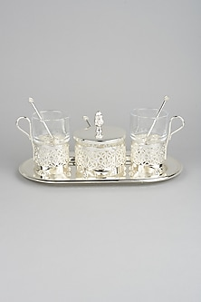 Silver Glass Tray Set by Dune Homes-POPULAR PRODUCTS AT STORE