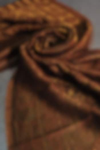 Copper Zari Embroidered Wool Stole by Dusala