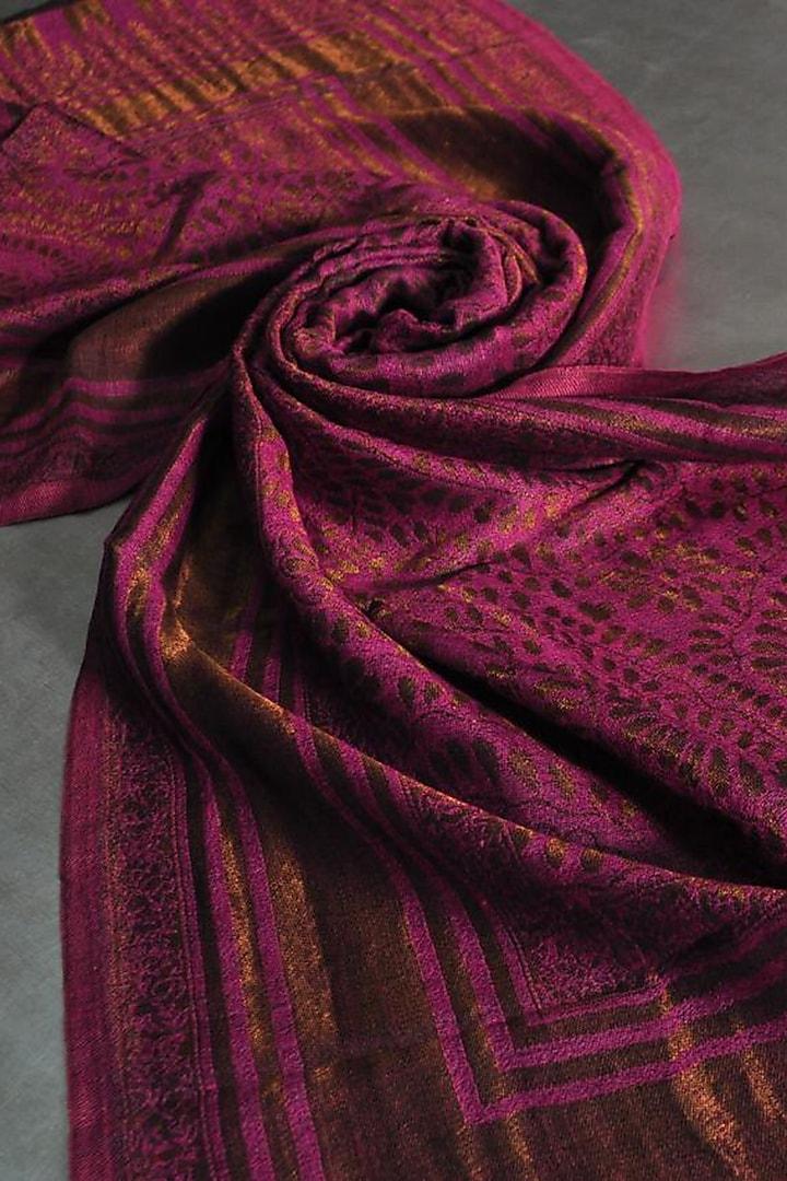 Fuchsia Zari Embroidered Wool Stole by Dusala