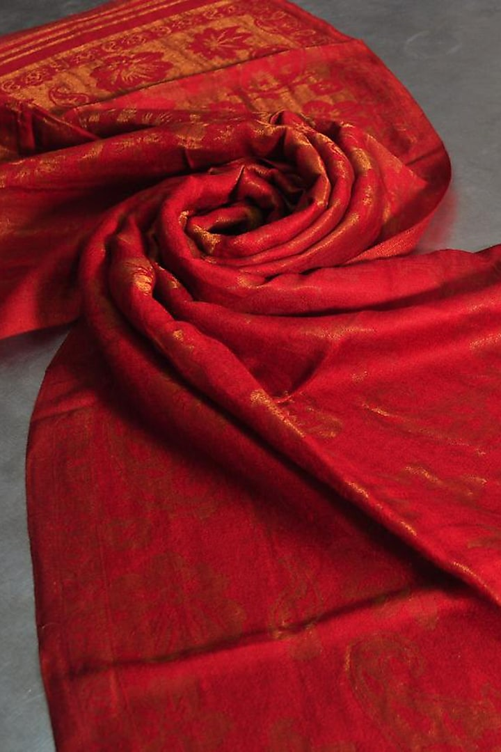Red Zari Embroidered Wool Stole by Dusala