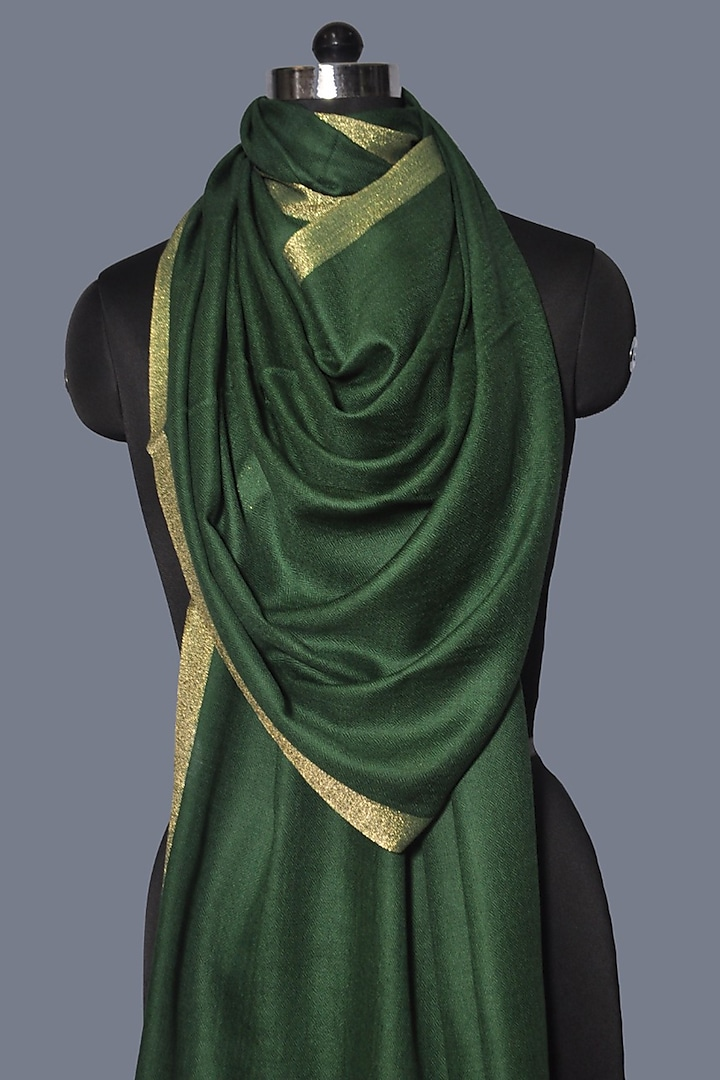 Emerald Green Zari Embroidered Wool Stole by Dusala