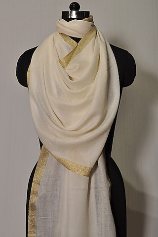 White Zari Embroidered Wool Stole by Dusala