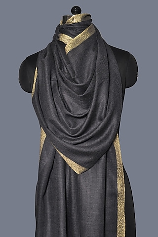 Grey Zari Embroidered Wool Stole by Dusala