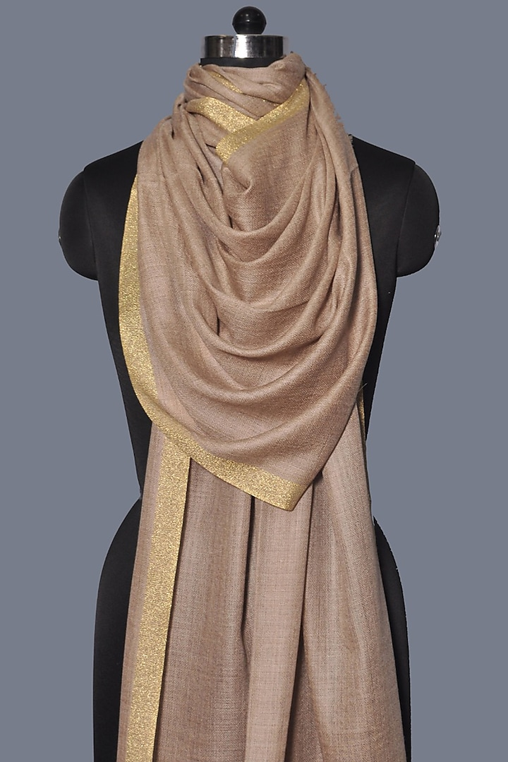 Beige Embroidered Wool Stole by Dusala