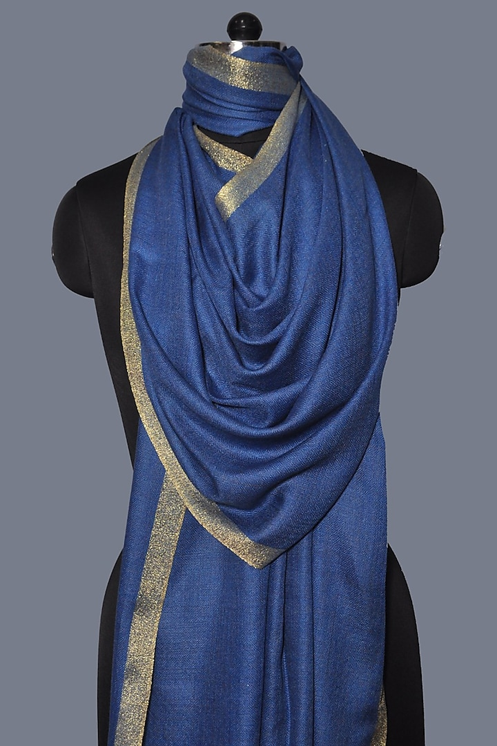 Cobalt Blue Zari Embroidered Wool Stole by Dusala