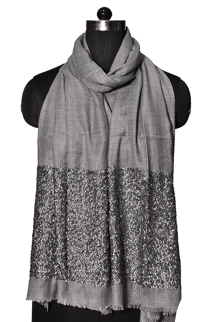 Grey Sequins Embroidered Wool Stole by Dusala