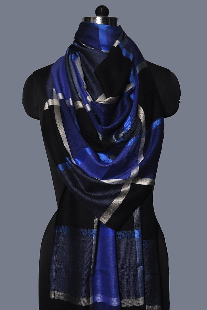 Black & Blue Printed Wool Stole by Dusala
