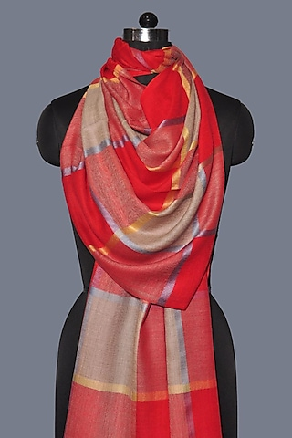 Red Printed Wool Stole by Dusala
