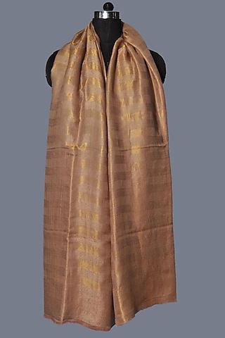 Beige Printed Wool Stole by Dusala