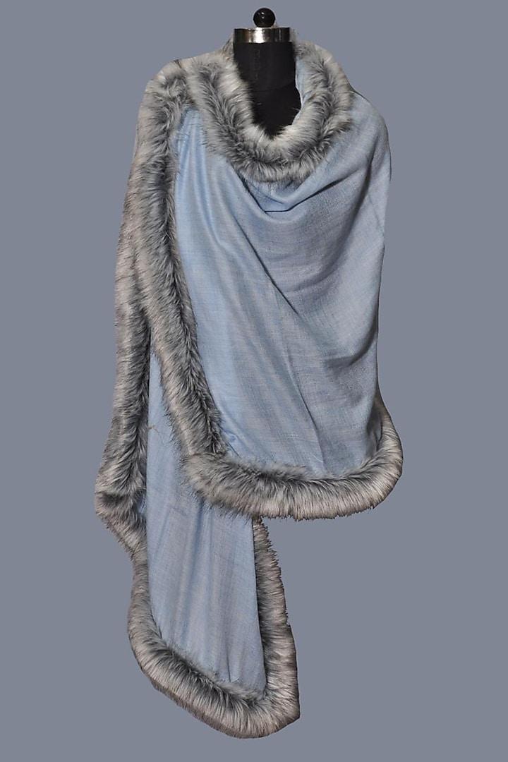 Powder Blue Wool Stole by Dusala