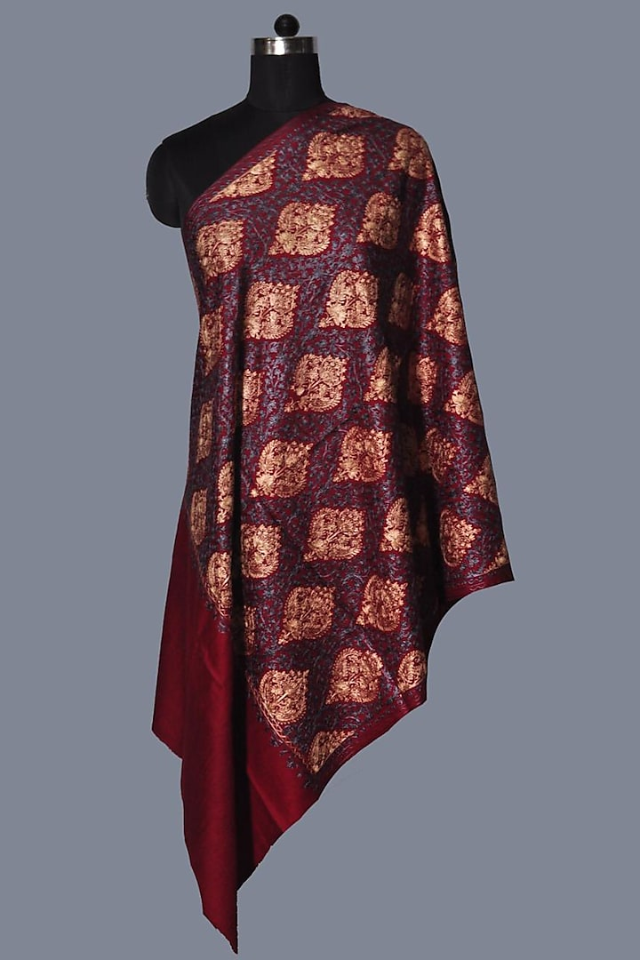 Maroon Wool Embroidered Stole by Dusala