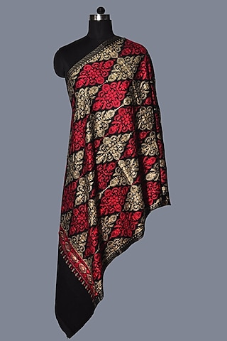 Black & Red Wool Embroidered Stole by Dusala