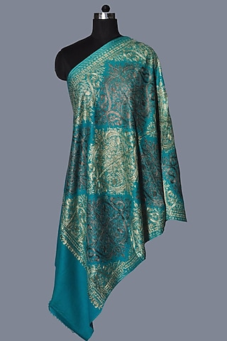 Turquoise Wool Embroidered Stole by Dusala