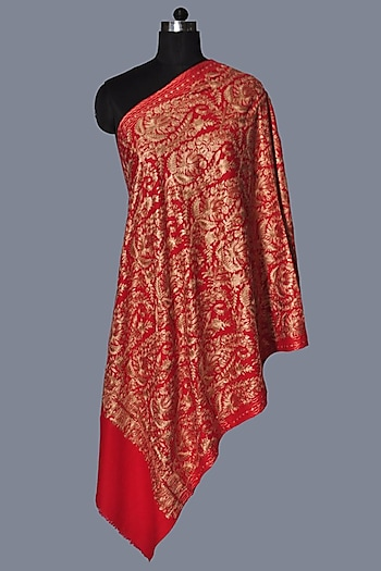 Red Wool Embroidered Stole by Dusala
