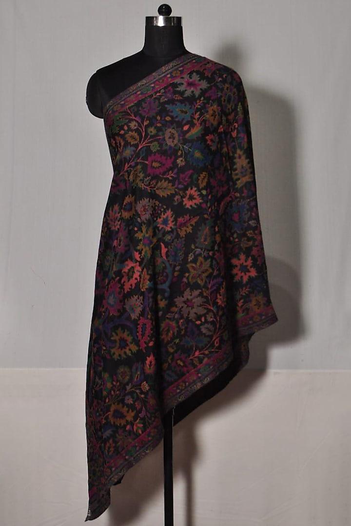 Black Wool & Kani Stole by Dusala