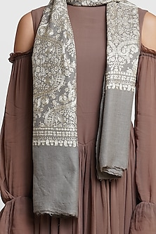 Grey Hand Embroidered Stole by Dusala