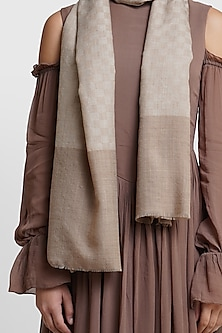 Light Brown Stole With Checks by Dusala