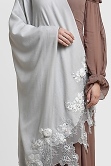 Grey Stole With Lace Detailing by Dusala
