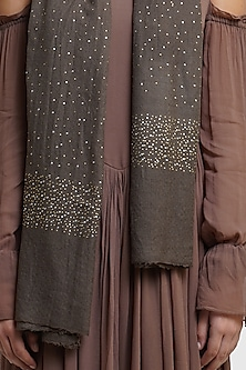 Brown Stole Mukaish Detailing by Dusala