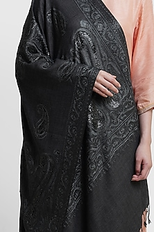 Black & Grey Embroidered Stole by Dusala