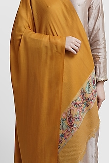 Mustard Stole With Woven Border by Dusala