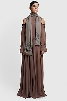 Brown Floral Embellished Stole by Dusala
