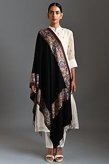 Black Cashmere Fine Wool Stole by Dusala