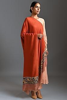 Orange Pashmina Fine Wool Stole by Dusala