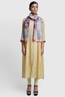 Multi Colored Floral Silk Stole by Dusala