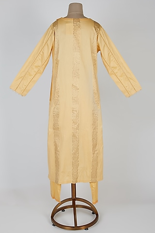 Mango Yellow Embellished & Printed Kurta Set by Devnaagri