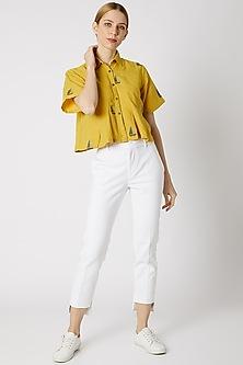 Mustard Jamdani Crop Shirt by DVAA