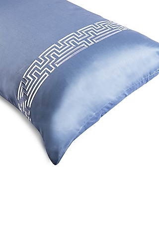 Powder Blue Cotton Bedsheet Set by Veda Homes