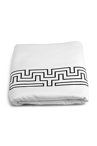White Embroidered Duvet Cover With Satin Finish by Veda Homes