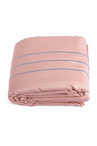 Coral Peach Duvet Cover With Satin Finish by Veda Homes