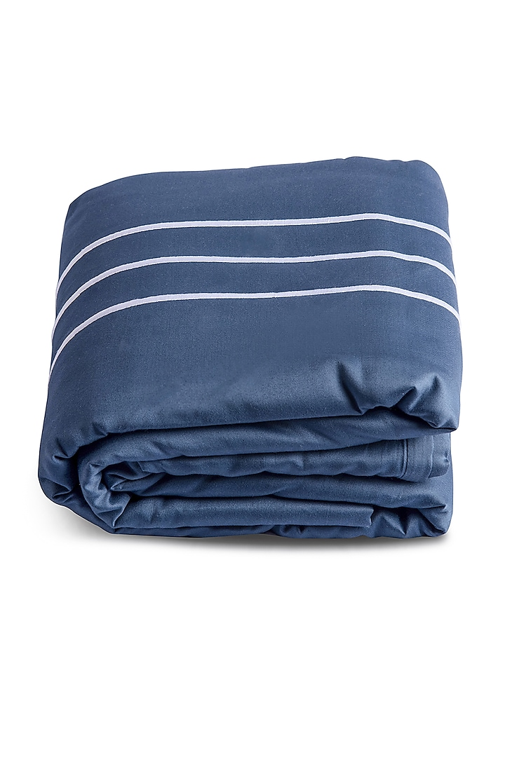 Moonlight Blue Duvet Cover With Satin Finish by Veda Homes