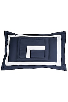 Navy Blue Cotton Bedsheet Set by Veda Homes