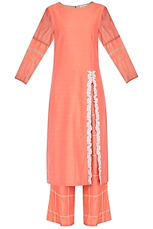 Coral Embroidered & Block Printed Kurta Set by Devnaagri